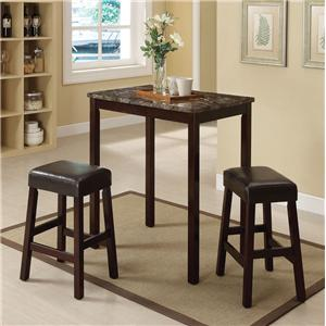 3 Piece Counter Height Dining Set with Backless Stools