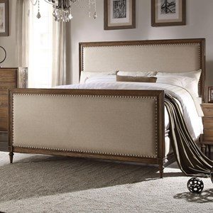 Vintage King Panel Bed with Beige Upholstery and Nailhead Trim