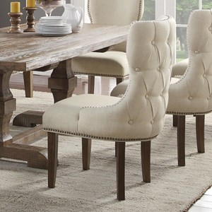 Upholstered Dining Host Chair with Nailheads and Tufted Back