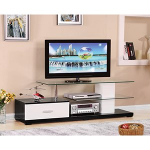 Contemporary TV Stand with Glass Table Top