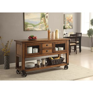 Transitional Kitchen Cart with Casters