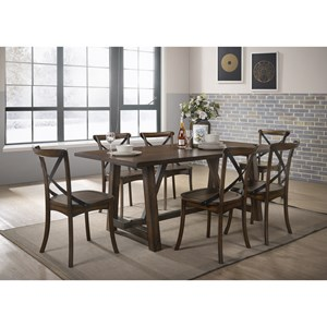 Transitional Dining Table Set with 6 Chairs
