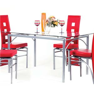 Rectangular Metal Dining Table with Glass Top