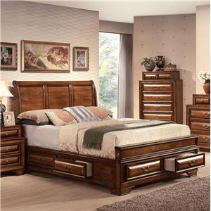 Traditional Sleigh Queen Bed W/Storage Drawers