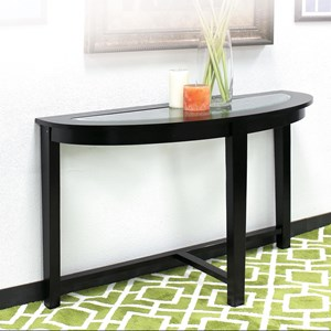 Casual Demilune Sofa Table with Glass Top
