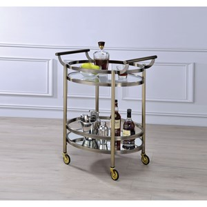 Contemporary Serving Cart with 2 Shelves