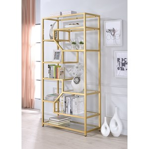 Contemporary Multi-Tiered Bookshelf with Gold Finish