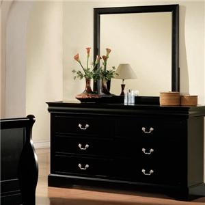 Transitional 6 Drawer Dresser and Mirror