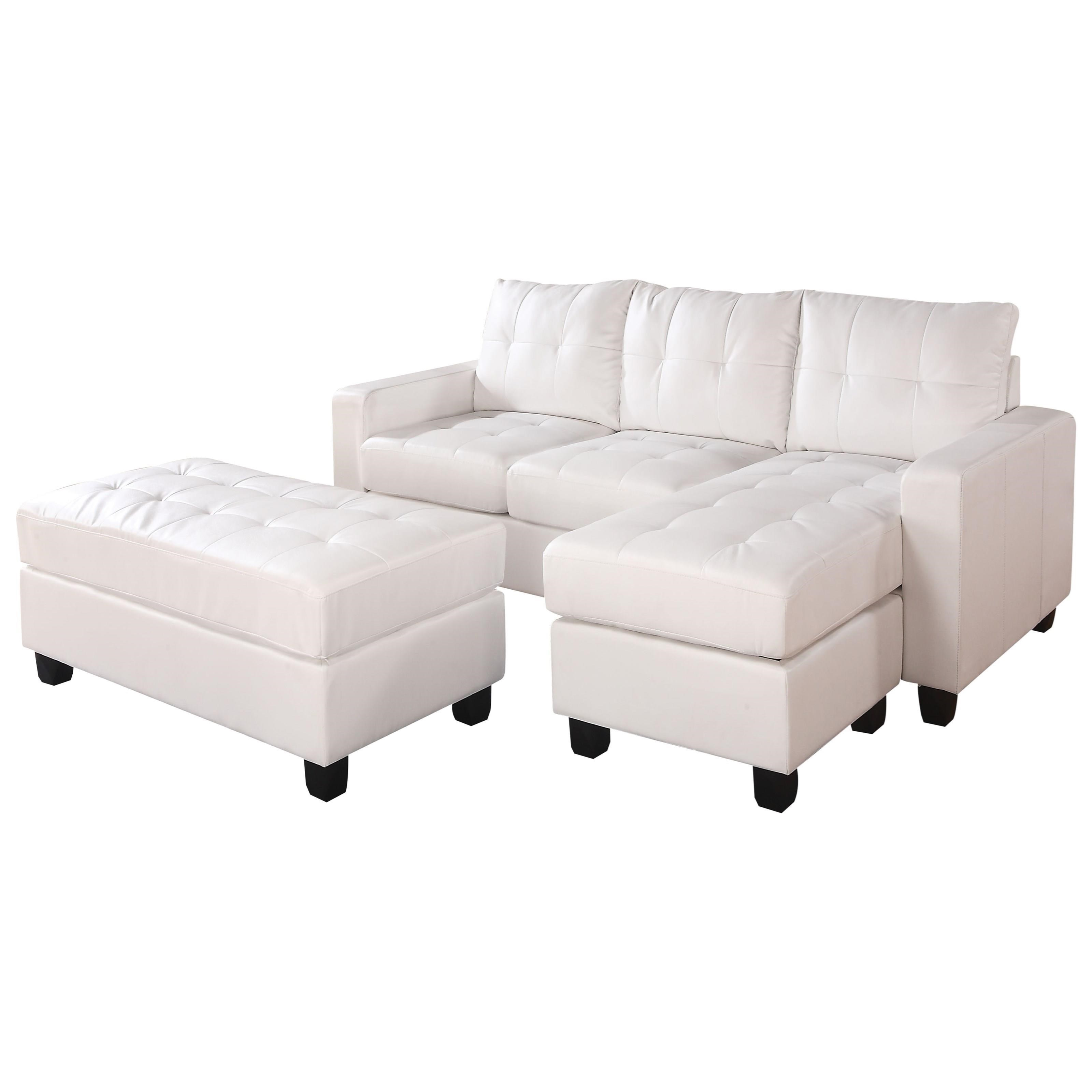 Lyssa Sectional Sofa (Rev. Chaise) w/Ottoman by Acme Furniture at Carolina Direct