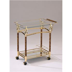Gold Serving Cart W/ Clear Glass