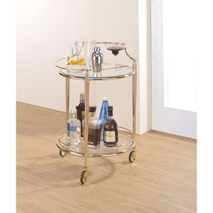 Metal/Glass Round Serving Cart