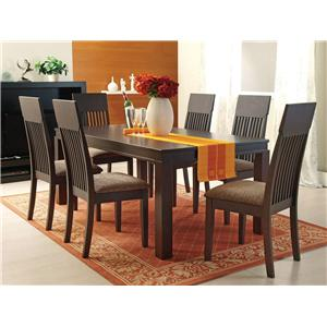 Casual 7-Piece Mission-Style Dining Table and Chair Set