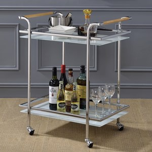 Contemporary Metal and Glass Bar Serving Cart with Wood Detail