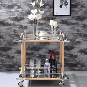 Mid Century Modern Wood and Metal Bar Serving Cart