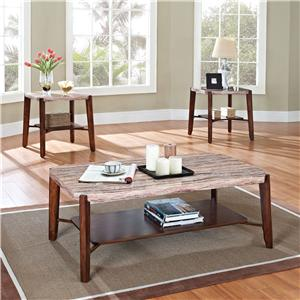 Square Faux Marble 3-Piece Coffee/End Tabl