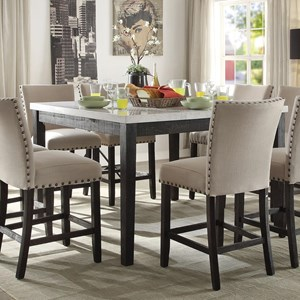 Counter Height Dining Table with White Marble Top