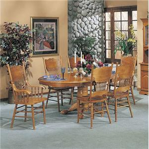 7-Piece Dining Pedestal Table and Press Back Chair Set