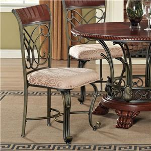 Traditional Lattice-Backed Dining Side Chair with Metal Cabriole Legs