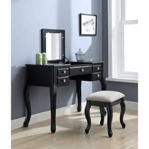 Transitional Vanity Set with Upholstered Bench