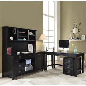 L Shape Desk with Office Cabinet & Hutch
