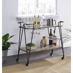 Serving Cart with Hairpin Style Legs