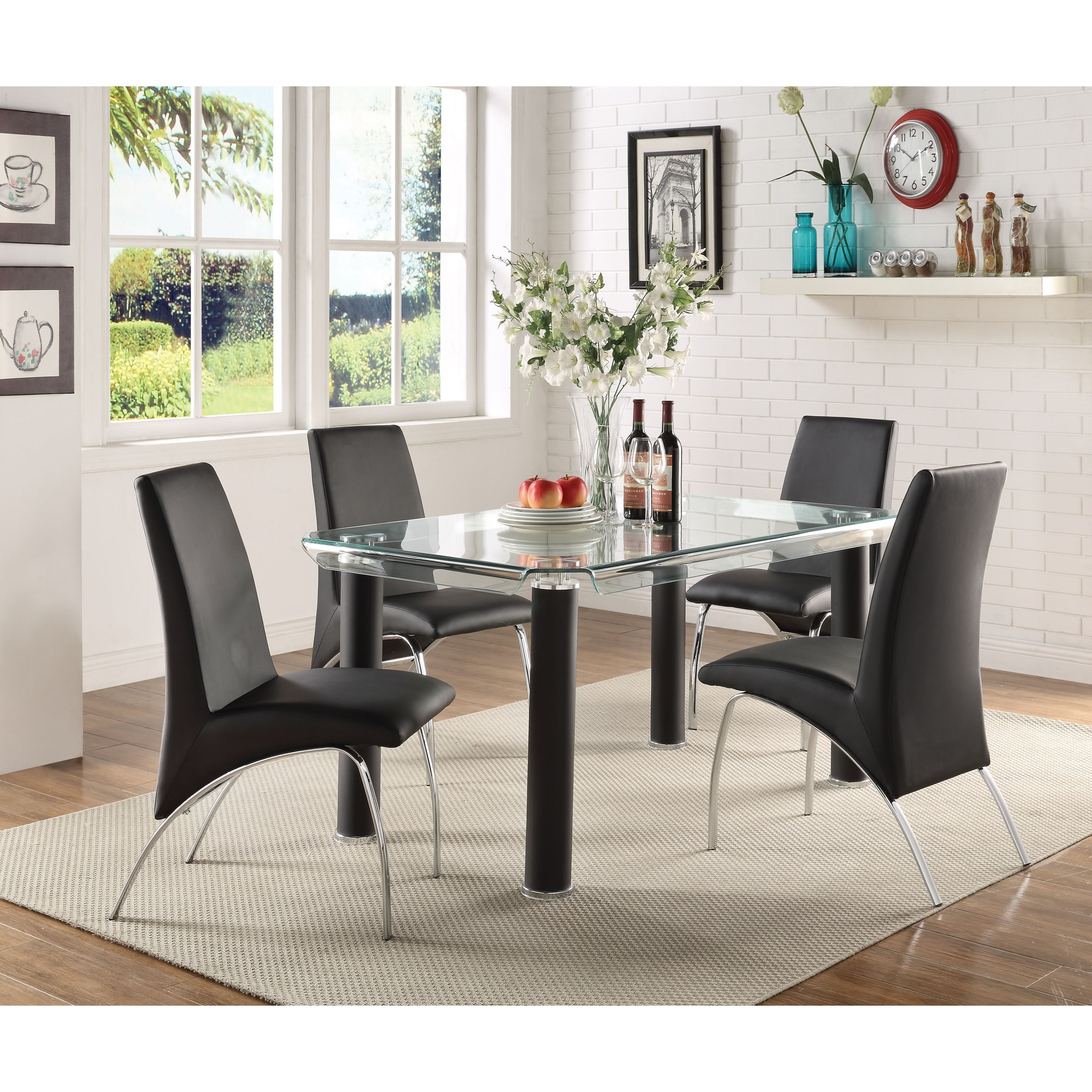 Pervis Dining Set with 4 Chairs by Acme Furniture at Carolina Direct
