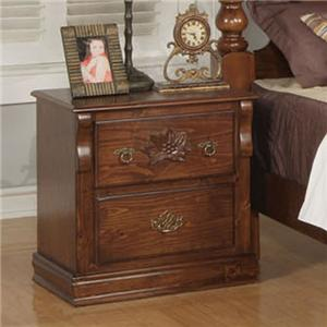 Traditional Two Drawer Nightstand with Carved Rosette