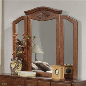 Tri-Fold Mirror with Crown Moulding