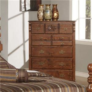 Traditional Seven Drawer Chest with Carved Rosette