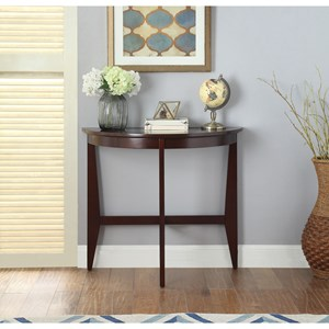 Transitional Console Table with Glass Top