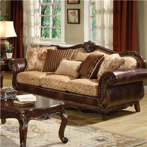 Traditional Stationary Sofa W/5 Pillows