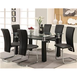 Contemporary Black Leg Table with Black Vinyl Chairs Set