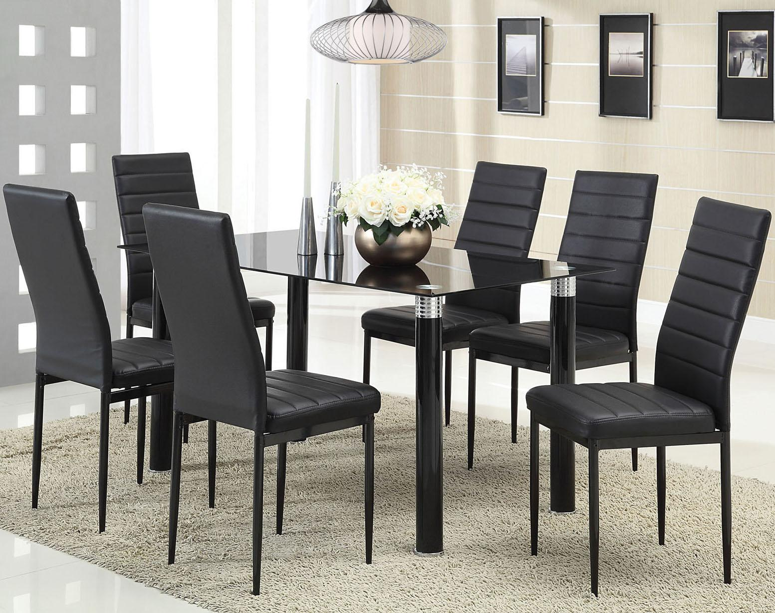 Riggan Black Leg Table with Black Vinyl Chairs Set by Acme Furniture at Rooms for Less