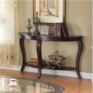 Transitional Oval Sofa Table W/Glass
