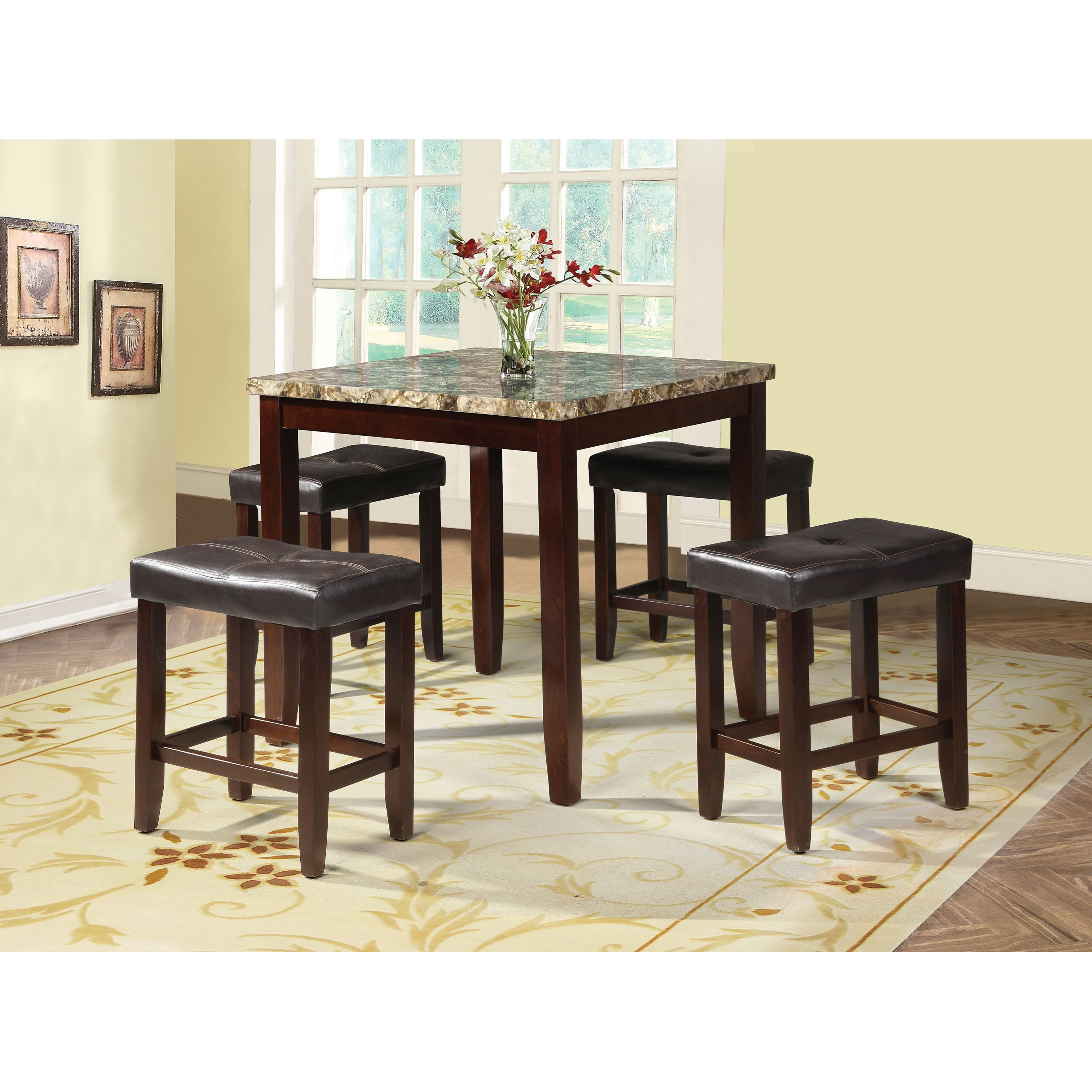 Rolle Counter Height Dining Set with 4 Chairs by Acme Furniture at Carolina Direct