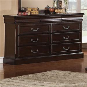 6 Drawer Dresser with Bail Pull Hardware