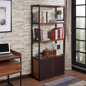 Contemporary Bookcase with Open Shelving and Interior Storage