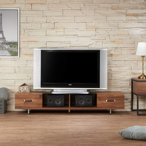 Contemporary TV Stand with 2 Drawers and 2 Open Shelves