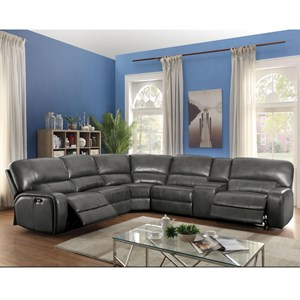 Reclining Power Sectional with Four Reclining Seats