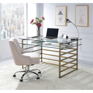Contemporary Glass Desk with Keyboard Platform