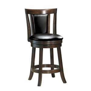 Contemporary Swivel Counter Stool with Pierced and Padded Back
