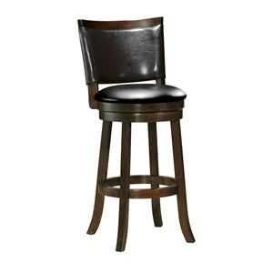 Contemporary Swivel Bar Stool with Faux Leather Back Cushion