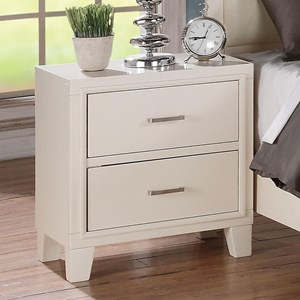Transitional 2 Drawer Nightstand with White Matte Finish