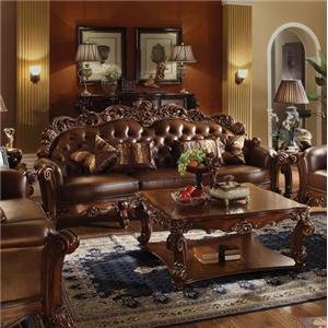 Acme Furniture Vendome 52001 Stationary Sofa With Tufting And Exposed Wood Del Sol Furniture