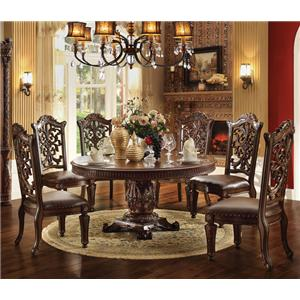 7 Piece Round Single Pedestal Table and Chairs Set
