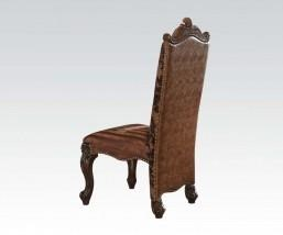 French Provincial Cherry Oak Dining Side Chair Wood w/Leather Back