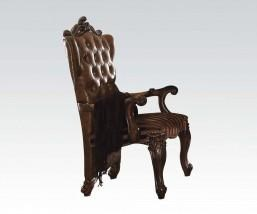 French Provincial  Cherry Oak Arm Chair w/Leather Back