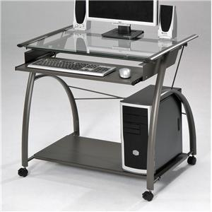 Silver Computer Desk with Keyboard Tray and Wheels