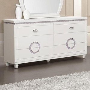 Contemporary 6 Drawer Dresser with Faux Crystal Inlay
