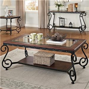 Coffee Table with Glass Top and Lower Shelf